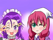 紫キャラの笑顔の接客サービス