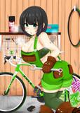 自転車を整備するセイカさん