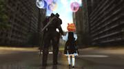 兵士と少女と風船。