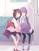 遊びつかれて帰りの電車で眠るウナきり