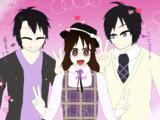 現・夢・ドッペル菫子の三人で一緒に写真撮影