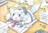 仕事の邪魔をする叢雲猫
