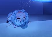 プールの底でぺーんするシロイルカのマネするシロちゃん