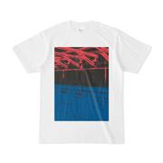 シンプルデザインTシャツ 駅ホーム赤青
