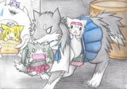 野良翔鶴・瑞鶴猫を持っていく加賀犬