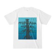 シンプルデザインTシャツ 鉄塔青色