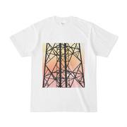 シンプルデザインTシャツ 夕暮れ鉄塔