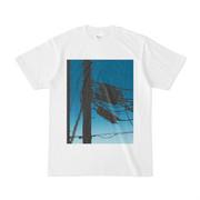 シンプルデザインTシャツ 電柱青