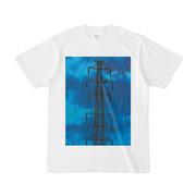 シンプルデザインTシャツ 青にじみ鉄塔