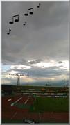 スタジアムで虹