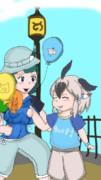 小さいフレンズに風船を配るキュルル