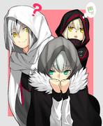 白灰黒フード3人娘