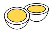 ゆで卵二個