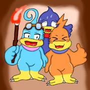 洞窟で探検な3羽さん
