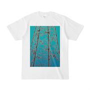 シンプルデザインTシャツ ブルー鉄塔