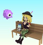 ベンチに座って休むゲストちゃん