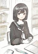 『 図書室で勉強してます゜。 』