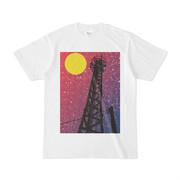 シンプルデザインTシャツ 鉄塔×月