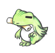 ちくわを咥えるカエル