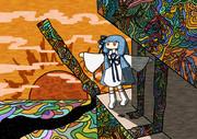 芸術の塔から夜が塗られていく様子を見る葵ちゃん