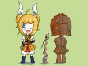 磨弓ちゃんと磨弓ちゃんが持ってた埴輪と挂甲武人埴輪