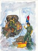 ベトナム人民軍北軍兵士 南ベトナム国旗踏みつけ