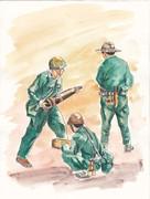 ベトナム人民軍兵士。砲弾準備