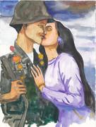 ベトナム人民軍兵士とアオザイ女性