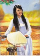 ベトナム アオザイ女性4 自転車