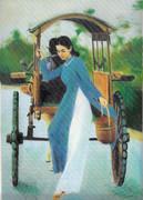 ベトナム アオザイ女性5 馬車から降りる