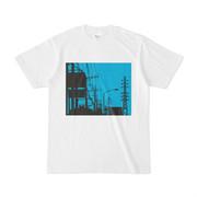 シンプルデザインTシャツ 青×電柱 それに鉄塔