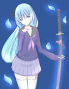 刀と制服の女の子