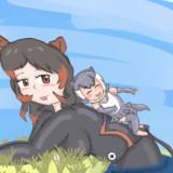 休憩中のカバさんの背中で遊ぶカワウソ