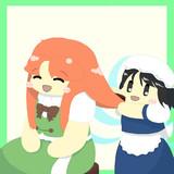妖精メイドに髪を梳いてもらう美鈴