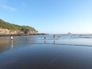海岸で遊ぶ人々