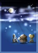 お月見する土偶