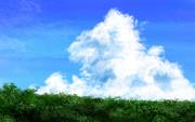 アニメ風背景素材②「夏の入道雲と土手」
