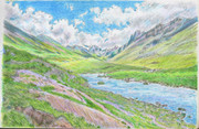 キルギスの緑の渓谷と山々