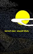 中秋の名月 ※線画・彩・背景黒・おむ08701