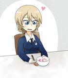いちごミルクを食べるダージリン