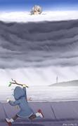 台風の日に外で遊びたくなった佐渡