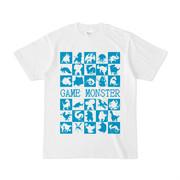 シンプルデザインTシャツ GAME MONSTER(CYAN)