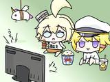 アニメ「アズールレーン」を視聴するオクラホマちゃんたち