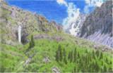 キルギスの緑と滝と山々