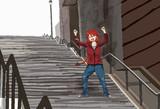 踊りながら階段を下りるフェニックス