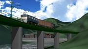S字橋を行くED62