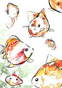 金魚 落書き