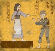 【壁画】おじいさんと娘
