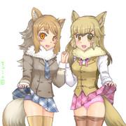 イタリアオオカミちゃんとクルペオギツネちゃん