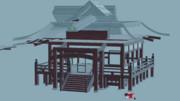 【Blender】データぶっ壊れ神社【東方】